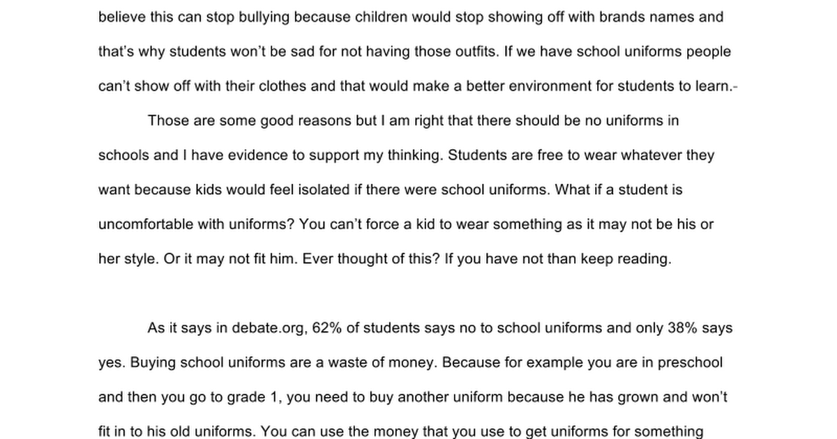 why uniforms are a bad idea Should students have to wear school uniforms and would be a bad idea all around in fact, school uniforms are as important as student laptops in the education.