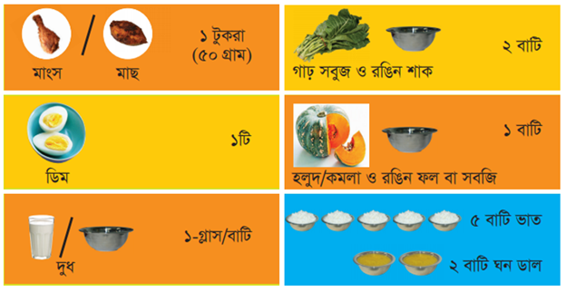 minimum required food intake for mother in Bangladesh