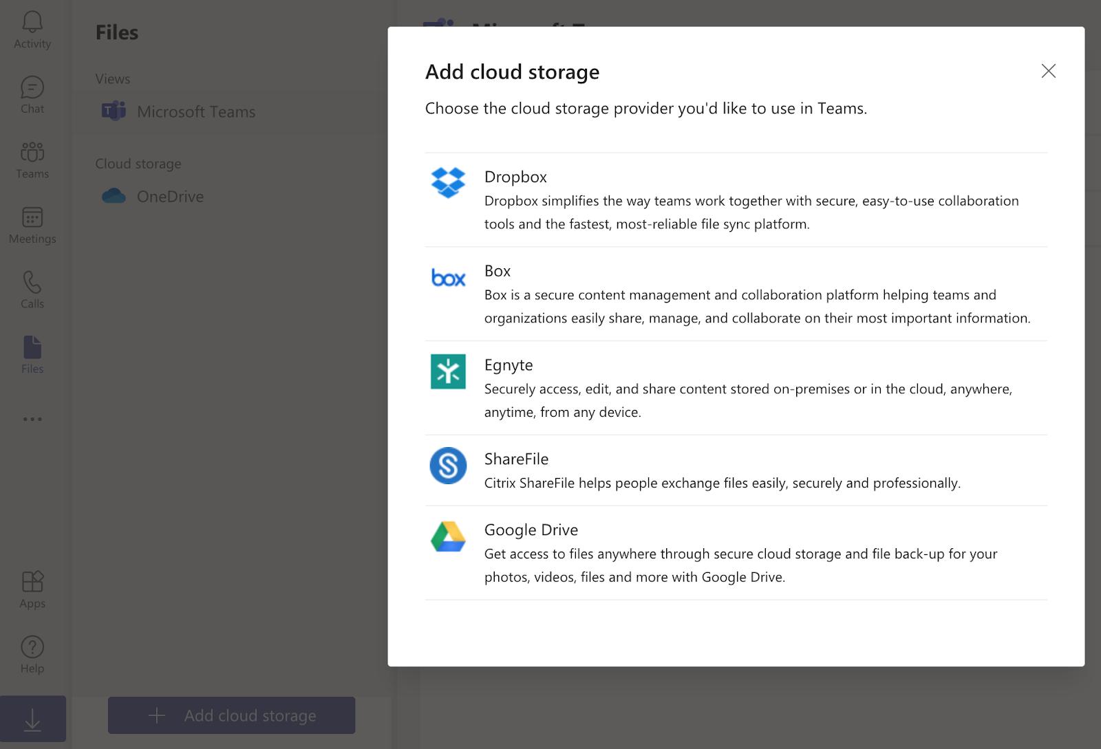 Adding cloud storage to Microsoft Teams