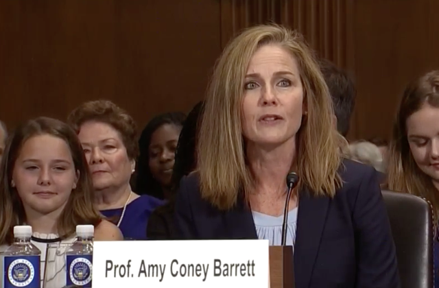 Amy Coney Barrett appears before the Senate Judiciary Committee on Sept. 6, 2017.