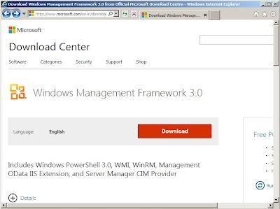 Descarga de Windows Management Framework 3.0