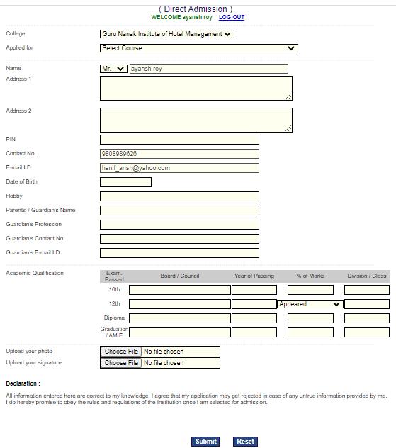 Fill GNIHM JET 2021 Online Application Form