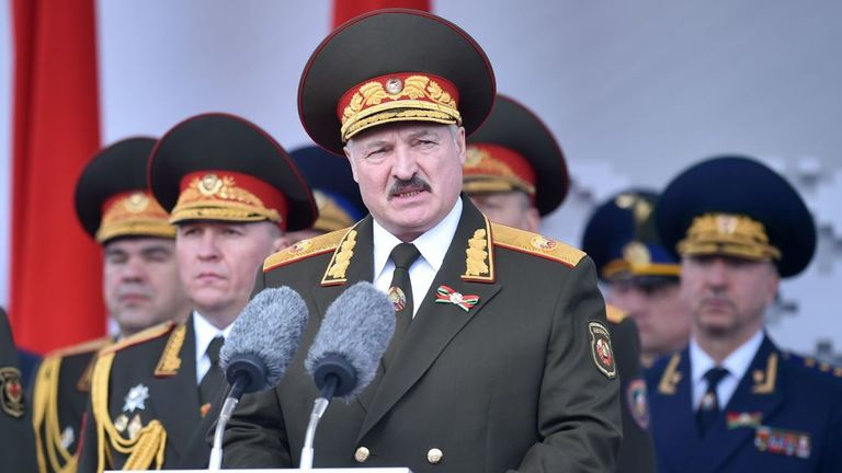 Belarus' President Alexander Lukashenko said he had no choice but to hold the parade