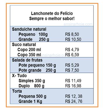 JOÃO COMPROU DUAS SALADAS DE FRUTAS DO POTE GRANDE E PAGOU COM A CÉDULA DE R$: 20,00. QUANTO ELE RECEBEU DE TROCO?