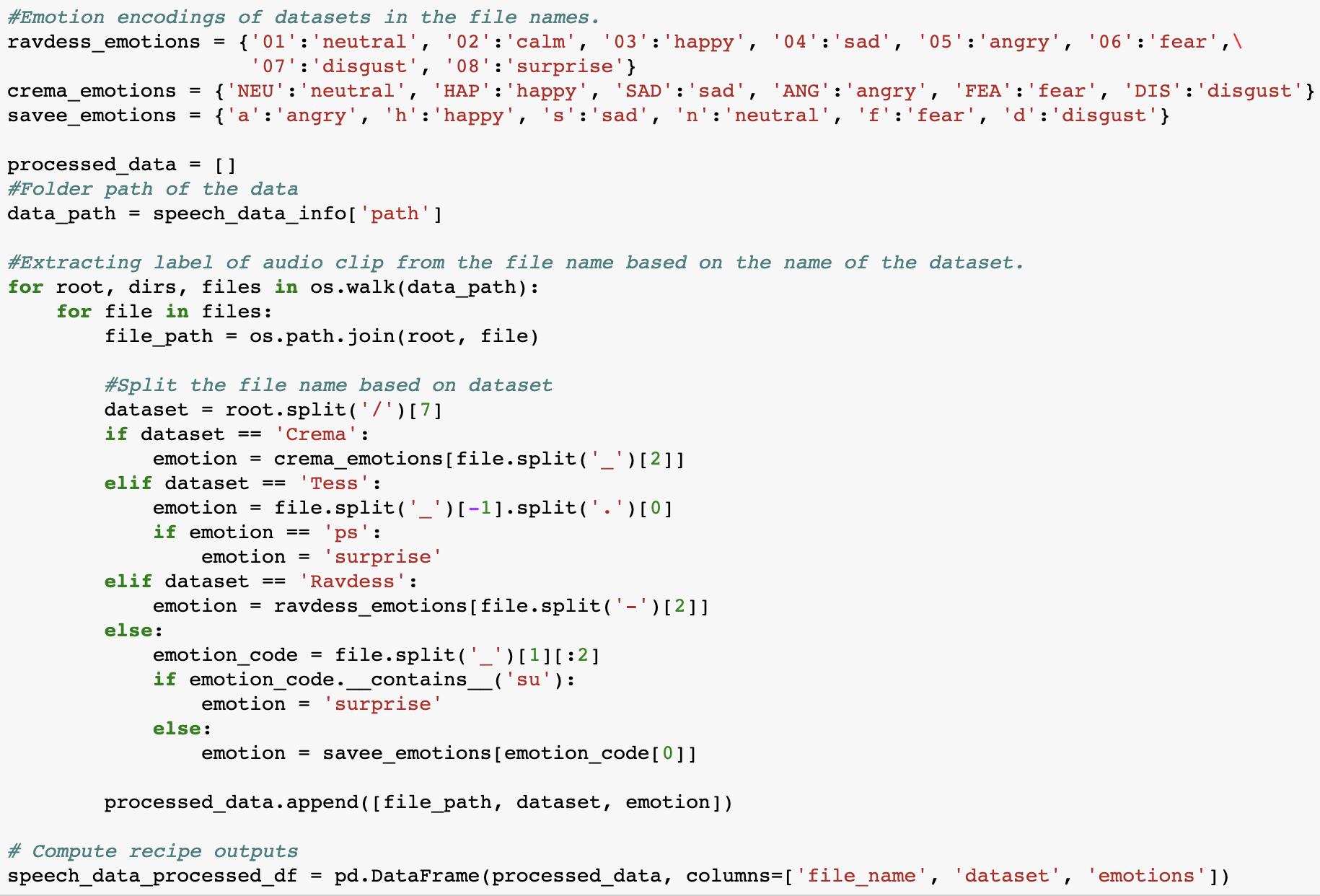 emotion encodings code snippet