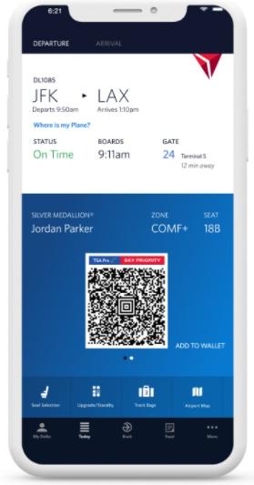 Delta airlines boarding pass app