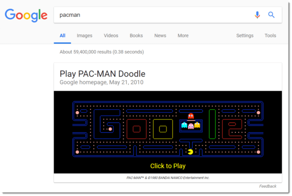 Google Easter egg: Pac-Man