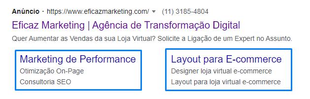 extensão de sitelinks - google ads