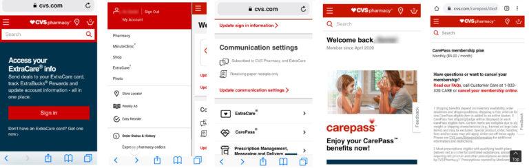 Delete CVS account through mobile