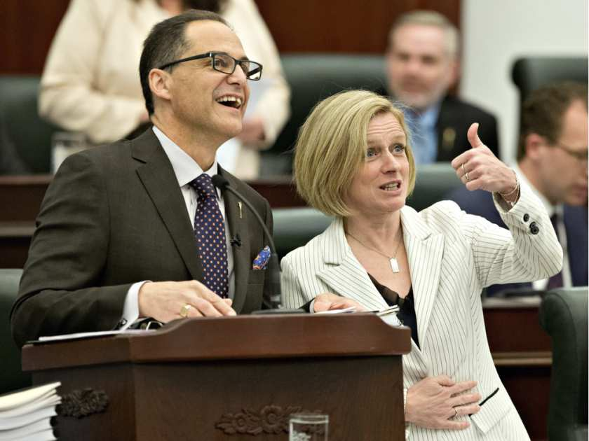 Alberta Premier Rachel Notley gives the thumbs up before Finance Minister Joe Ceci delivers the 2016 budget in Edmonton on Thursday April 14, 2016.