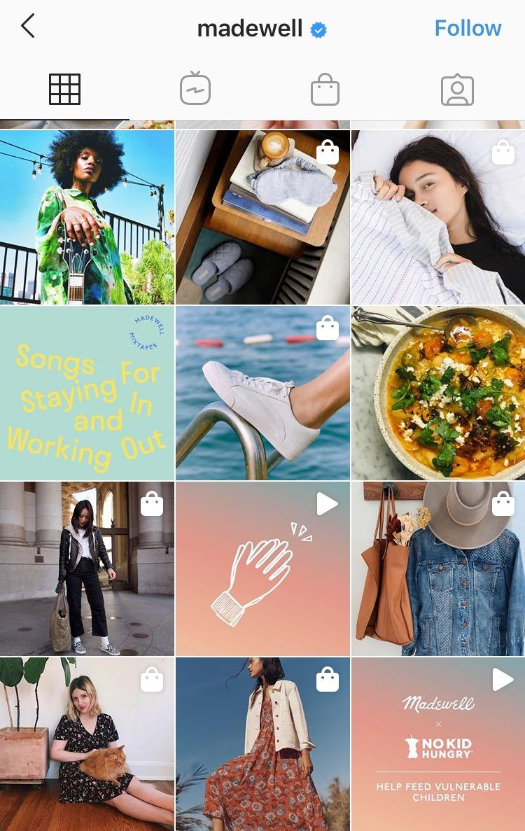 Instagram shopping with Madewell