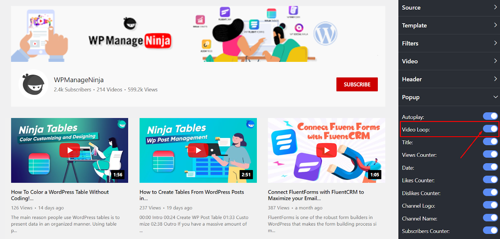 YouTube settings video loop