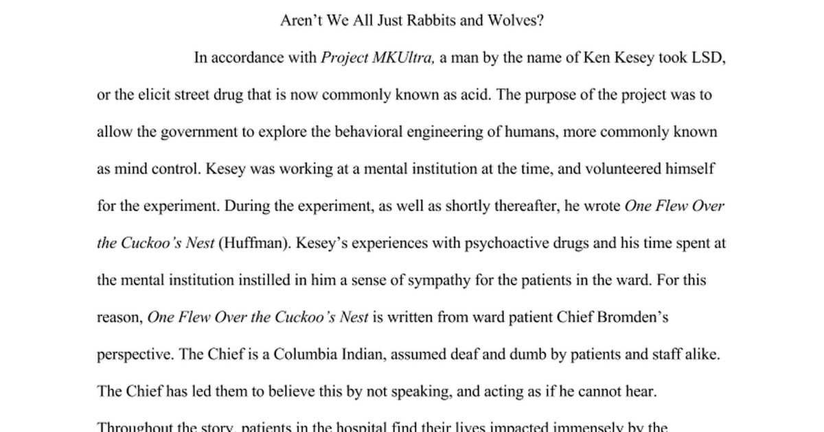 one flew over the cuckoo s nest essay google docs
