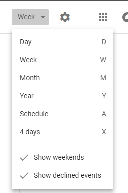 Calendar View Menu