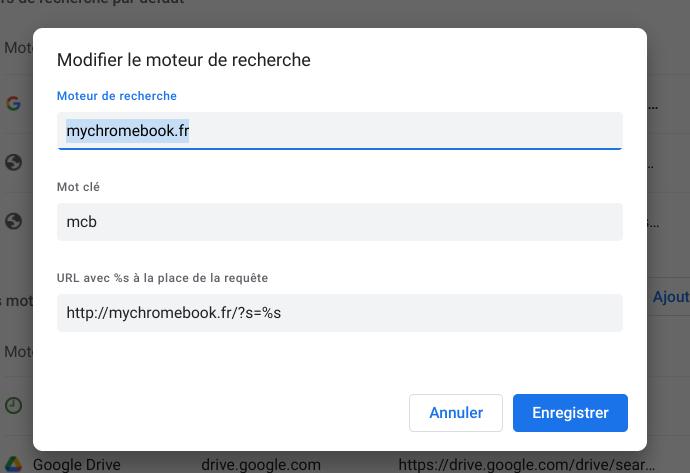 Créer son moteur de recherche sur Chrome et Chromebook