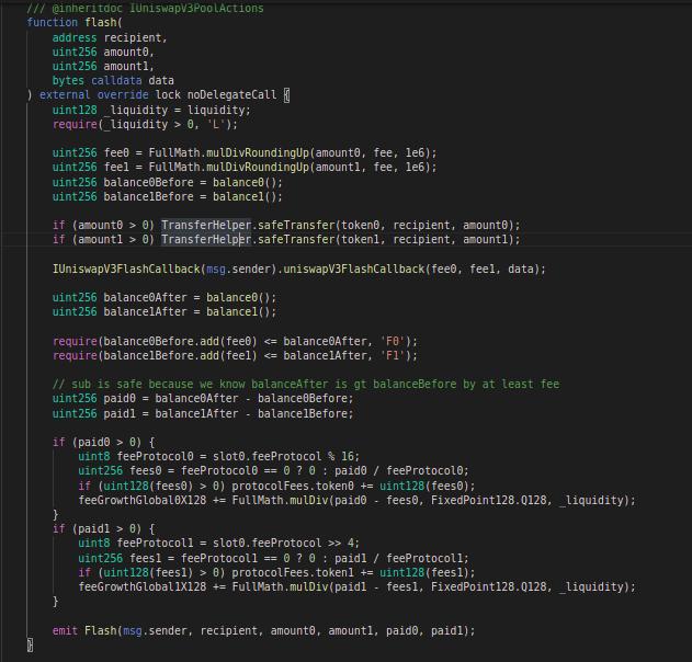 Code block for swap function