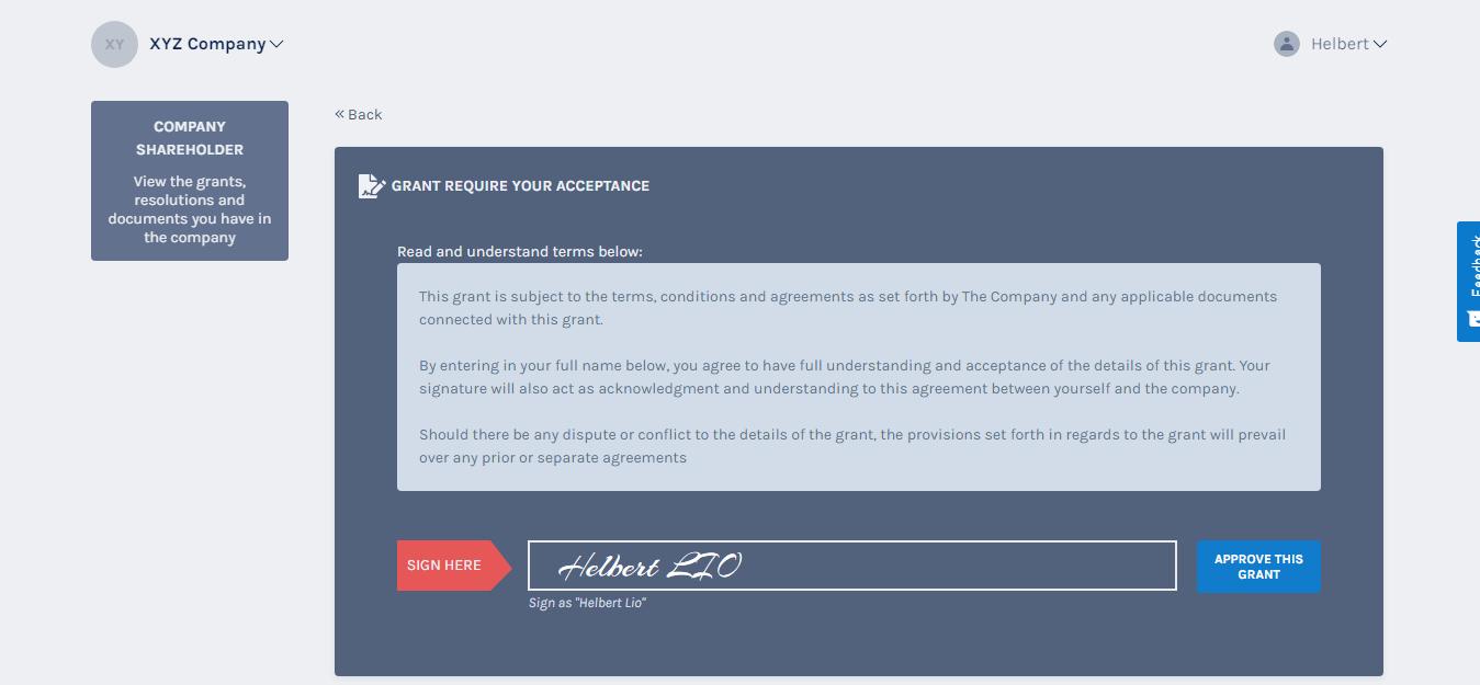 add signature to accept grant