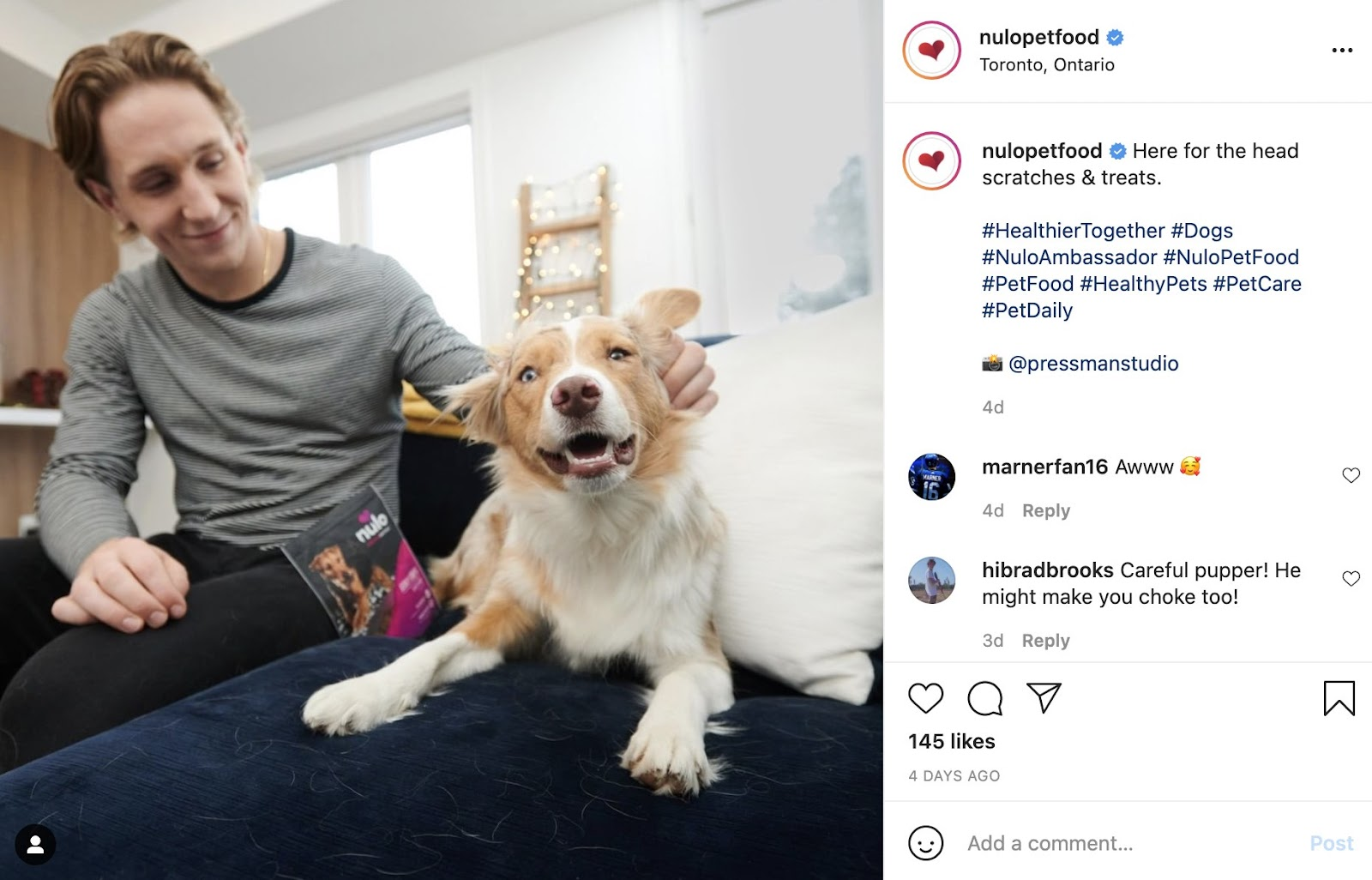 Nulo Instagram Post of man with dog