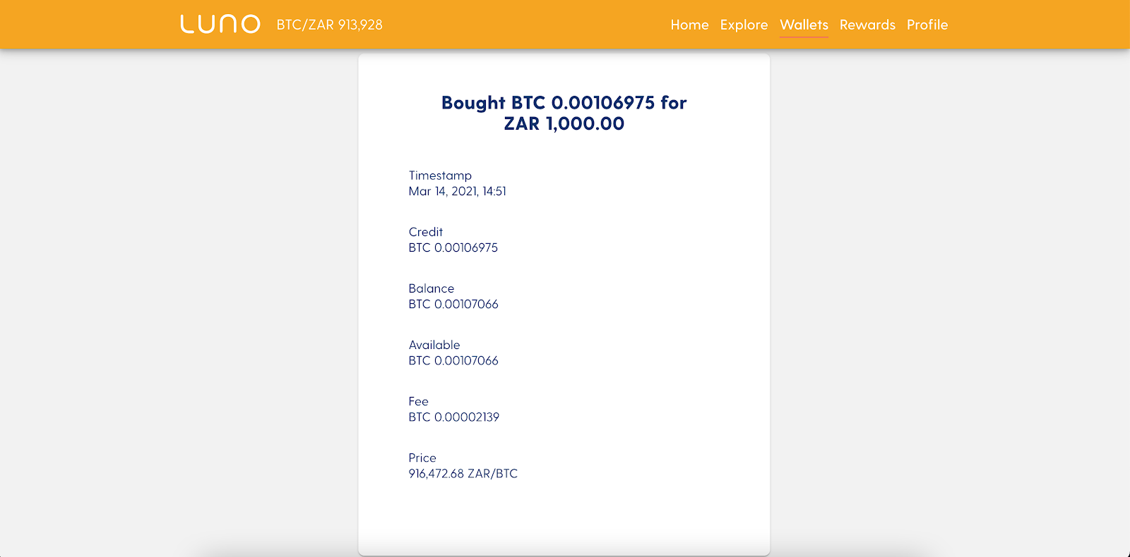 Screenshot of the BTC purchase order from Luno.