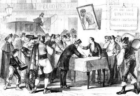 Souscription pour le rachat des esclaves de Cuba et Porto Rico à Madrid, en Espagne, en 1868. (Photo by API/Gamma-Rapho via Getty Images)
