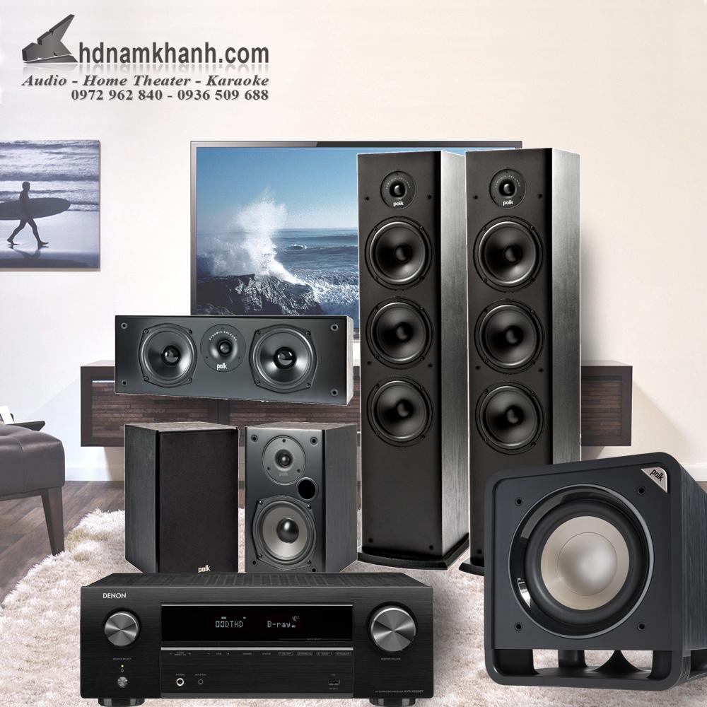 Bộ xem phim Amply Denon X550BT + Bộ 5.1 Polk Audio T50 Chất lượng