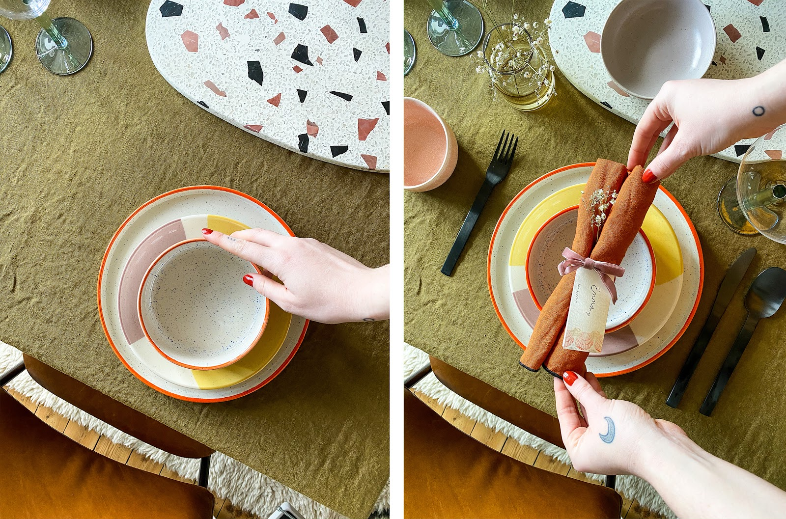 how to lay a dinner table with orange napkins