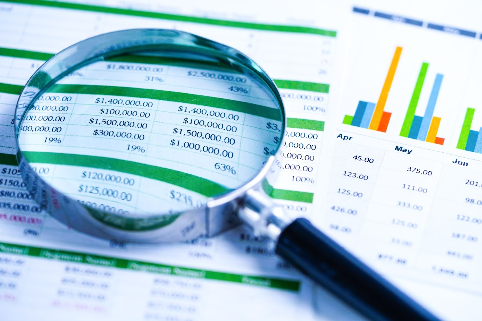 best preferred stocks: magnifying glass on a paper