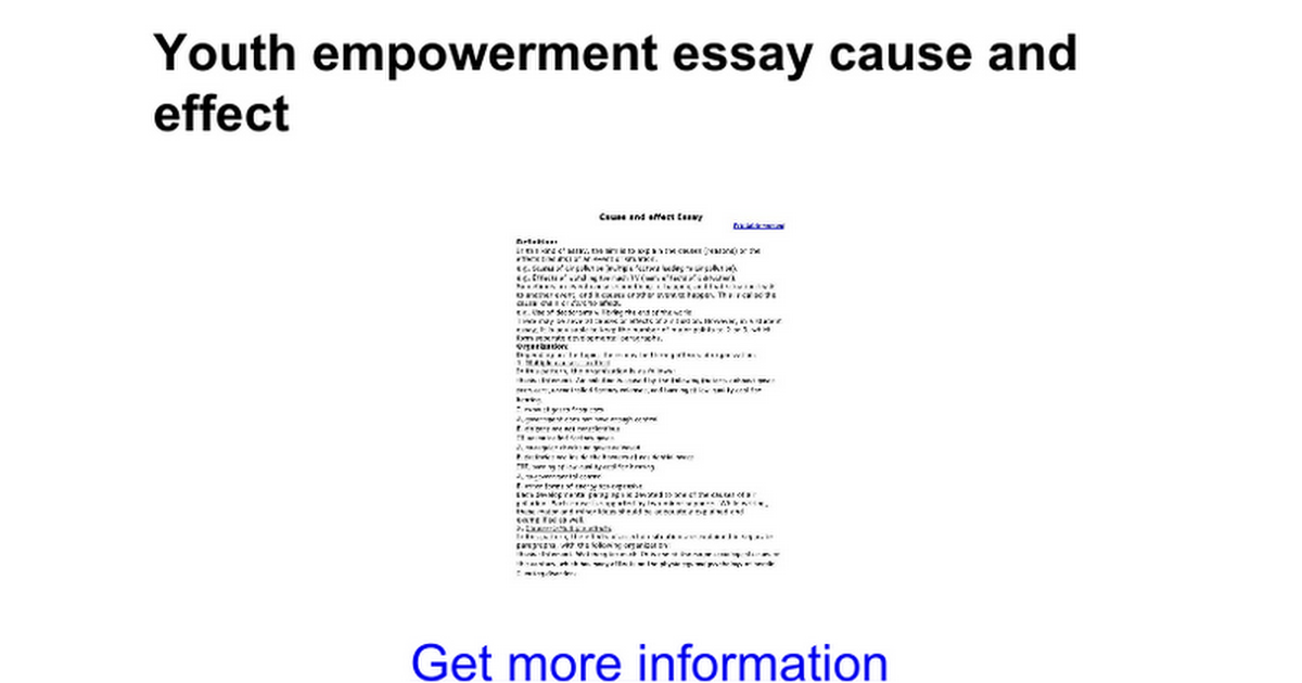 youth empowerment essay cause and effect google docs