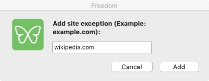 Add websites to your exception list and click Add