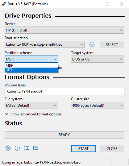 Rufus: Selecting the partition scheme for installation disk