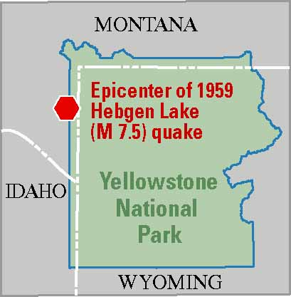 map of Yellowstone showing epicenter in northwest just outside the park on the Montana side