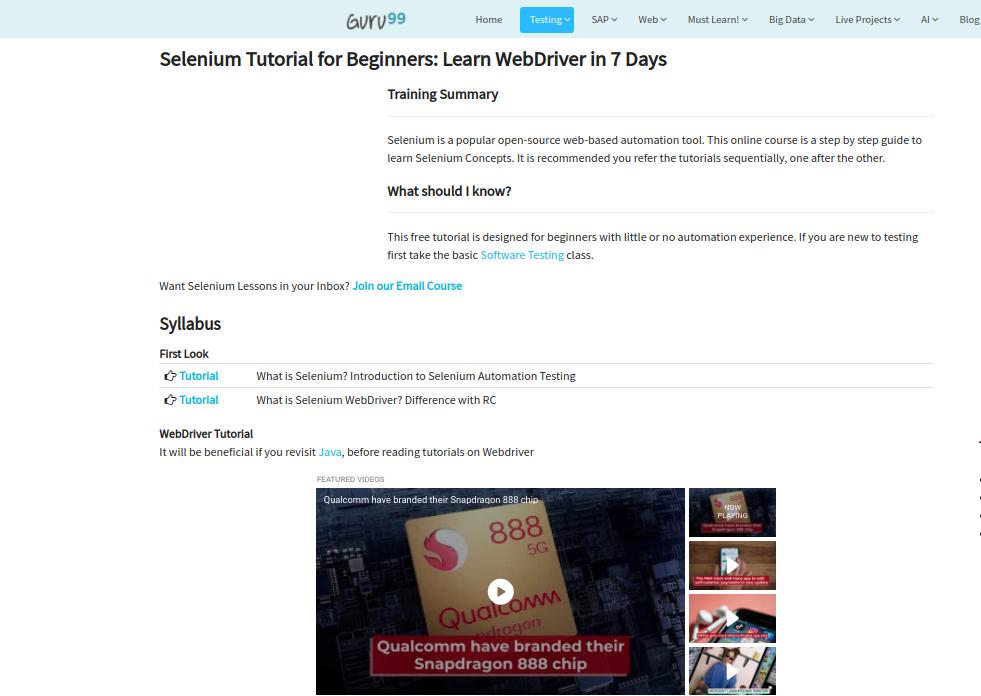 Selenium Tutorial for beginners by Guru99
