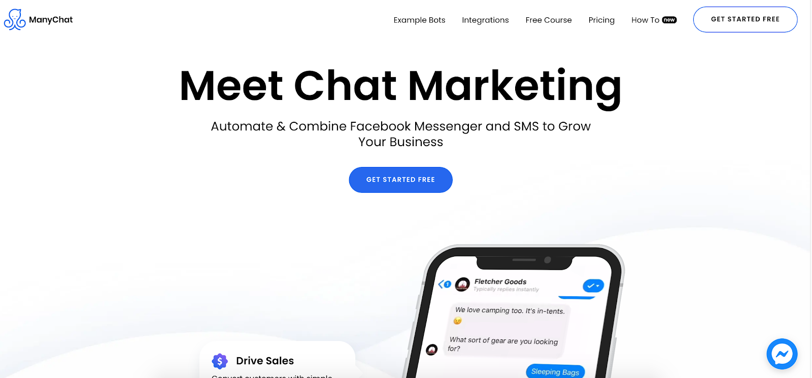 Manychat marketing software homepage