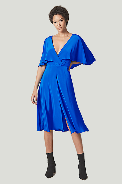 allen schwartz royal blue silk dress