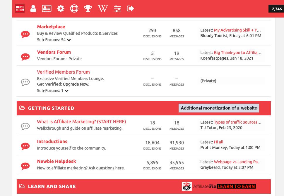 affiliate marketing forum affiliatefix, featuring discussion topics related to affiliate marketing