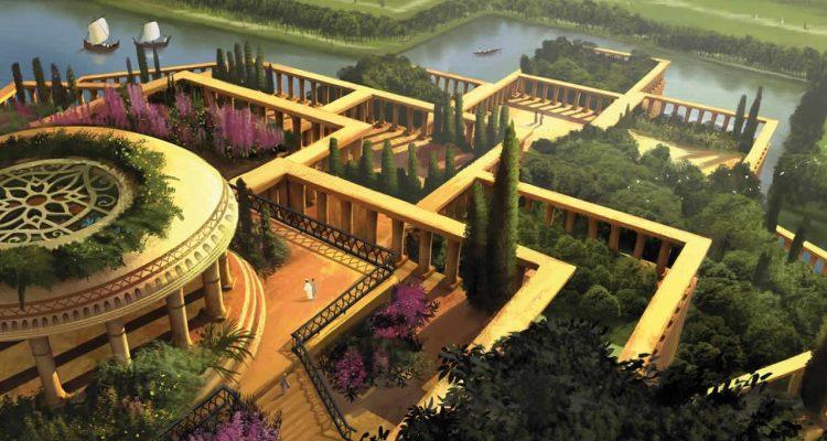Imagem do que seria o jardim suspenso da Babilônia