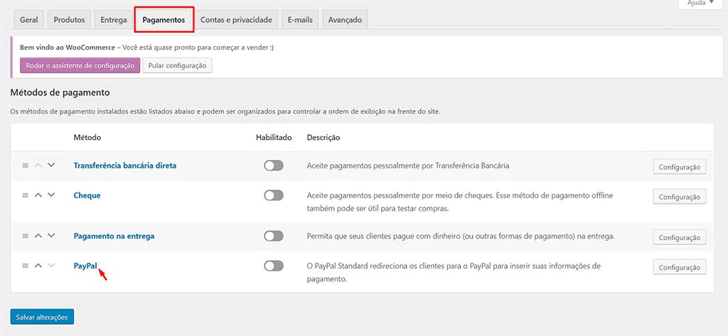 tela de configuração de pagamentos do woocommerce