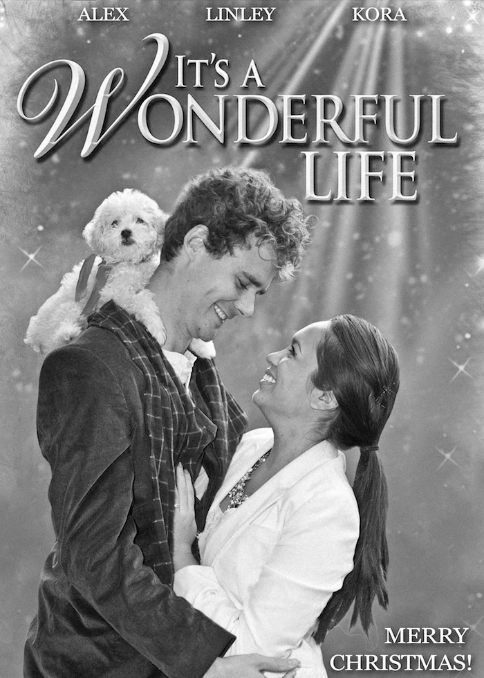 "fun holiday card idea of ""It's A Wonderful Life"" remake"