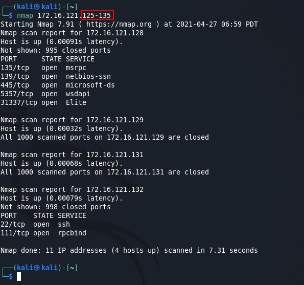 Nmap commands - single target scan M3. Source: nudesystems.com