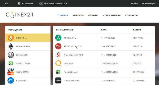 Coinex24: обзор обменника с прозрачными условиями работы, отзывы пользователей
