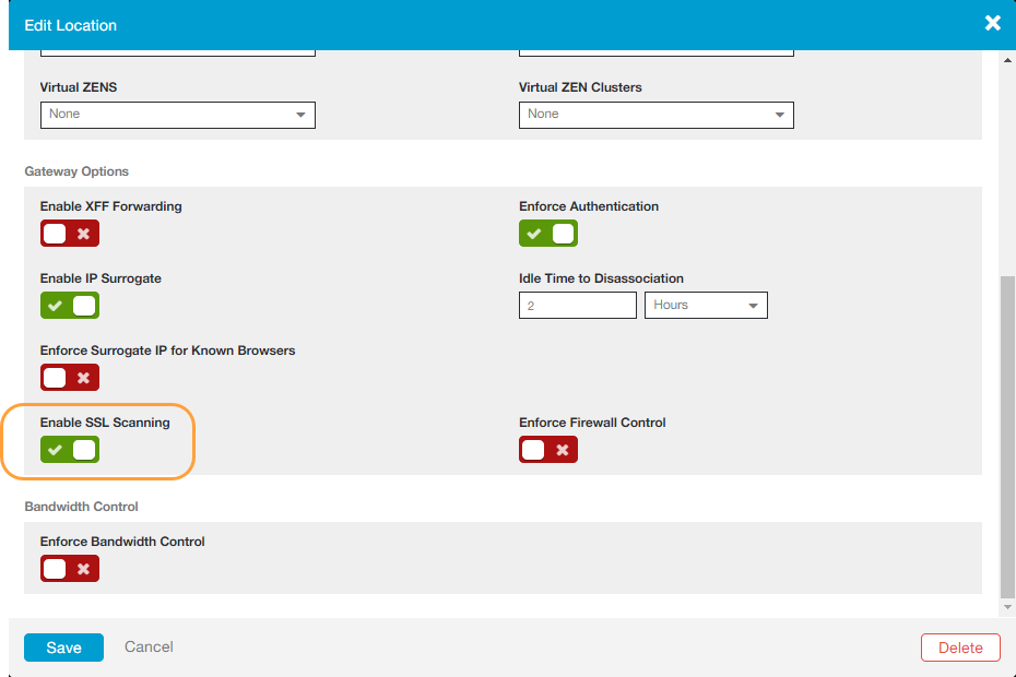 Screenshot of Enable SSL Scanning switch for Zscaler