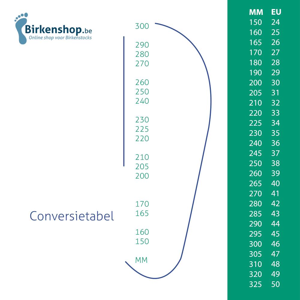 birkenstock schoenmaat tabel