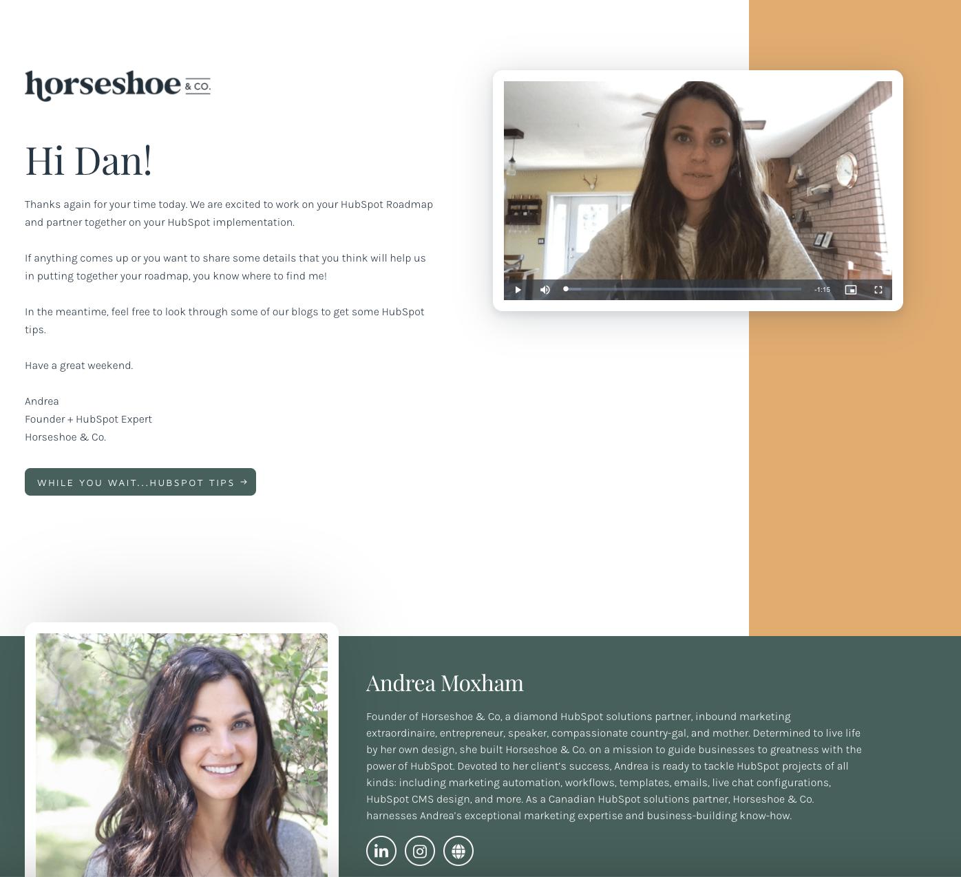 Horseshoe's custom SalesReach page