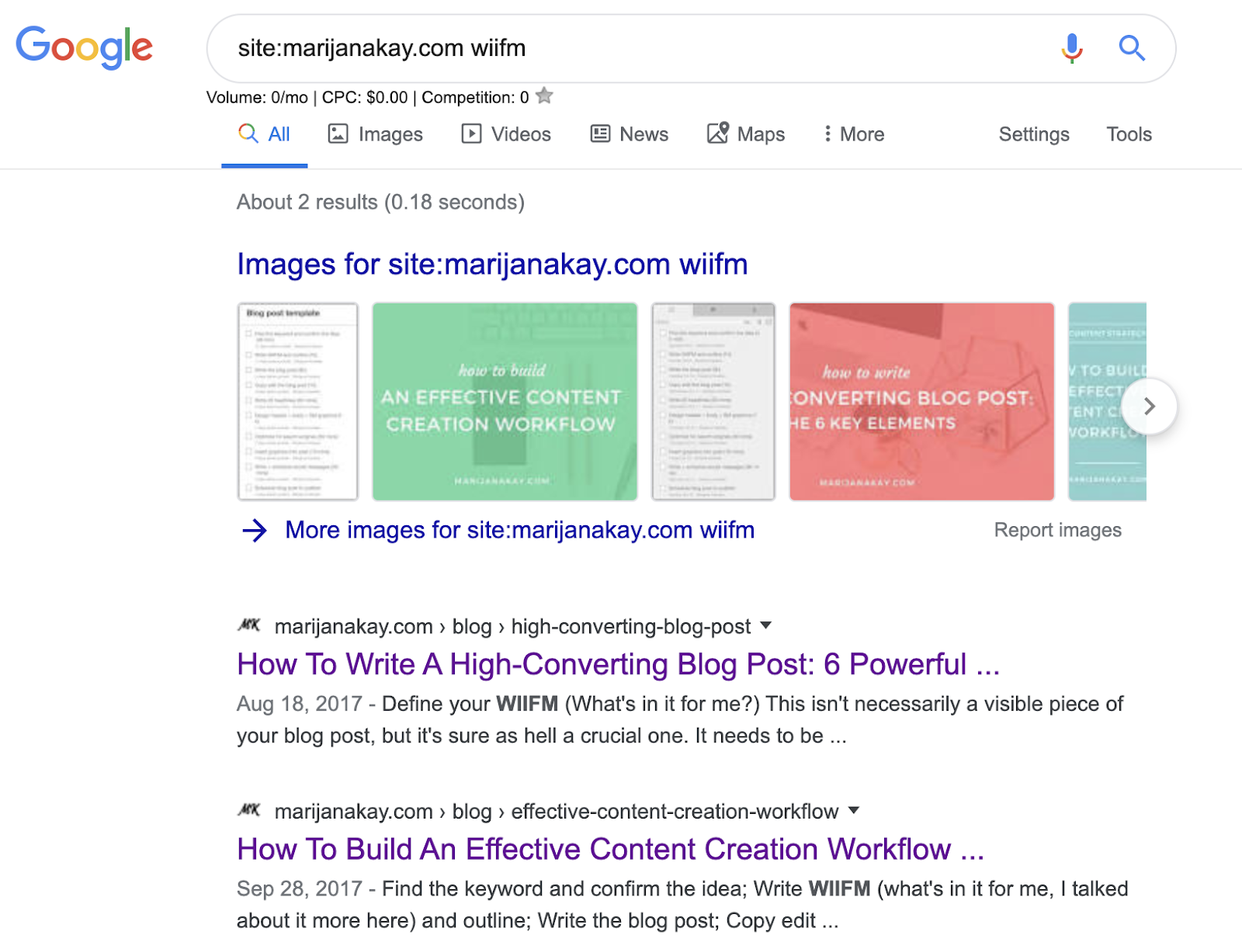 Example of a Google search for previous blog posts.