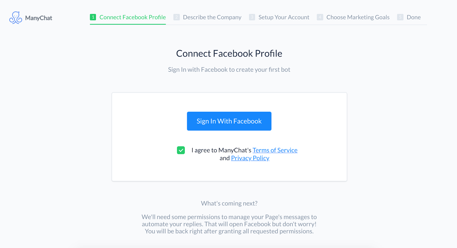 Connect Facebook page to ManyChat