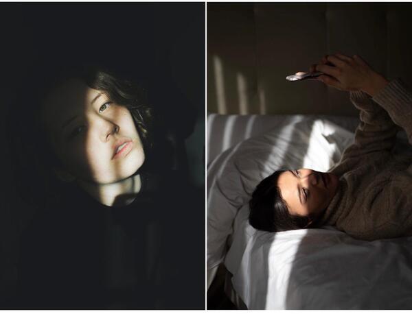 Montagem de duas fotos com pessoas tirando uma selfie