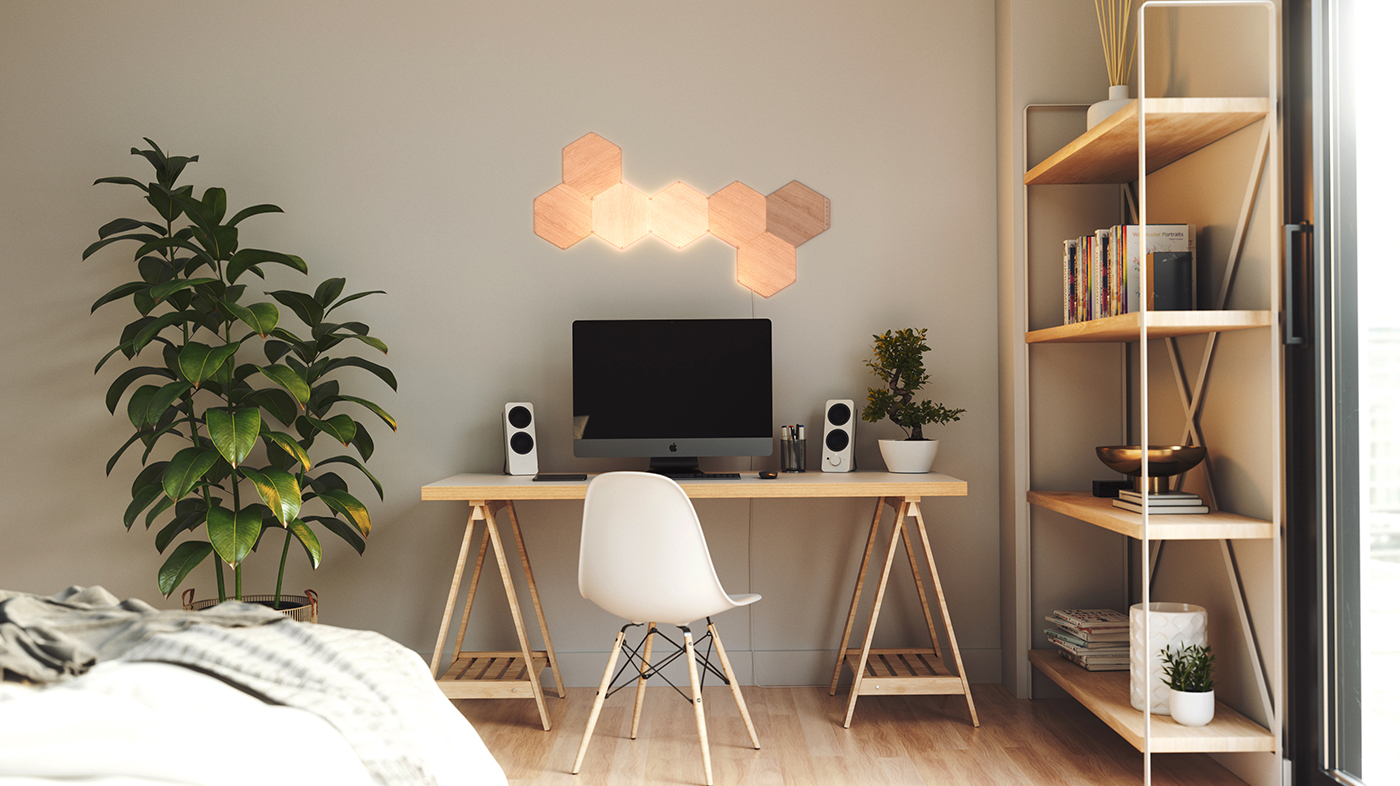 Nanoleaf Elements Wood Look Hexagons for Home Office