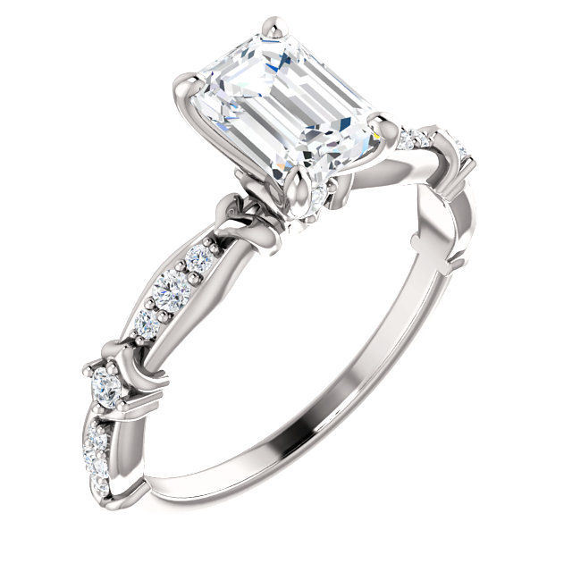 White Gold Emerald Cut Diamond Engagement Ring