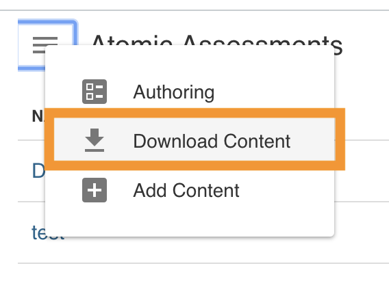 Download content button highlighted in the Atomic Assessments drop down menu