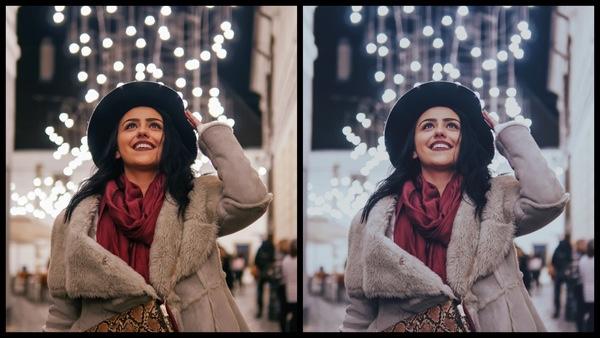 Montagem de duas fotos usando a mesma mulher com roupas de frio, olhando pra cima e com um fundo de luzes de Natal. Foto 1 sem edições e foto 2 usando o Filtro FZ-3